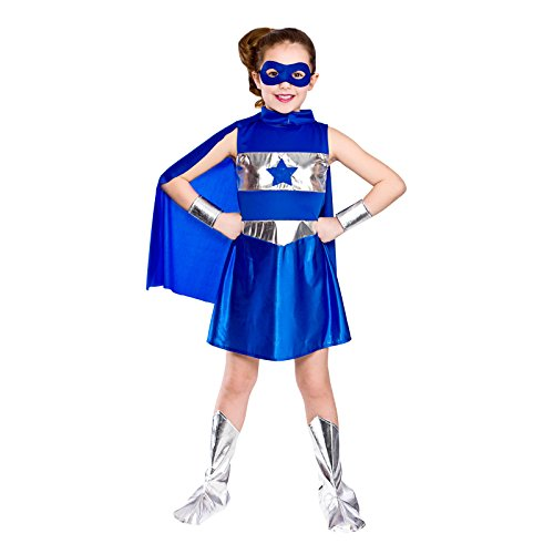 Girls Blue Super Hero Fancy Dress Up Party Costume Halloween Child Cape Age (Halloween Costumes Age 3-4 Uk)