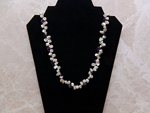 Keishi Pearl And Pear-Shaped Amethyst Necklace