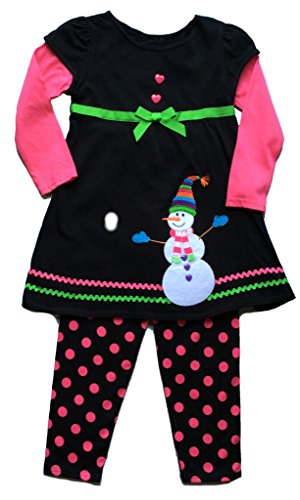 Snowman Black & Pink Holiday 2 Piece Dress & Leggings Set (18 Months) …