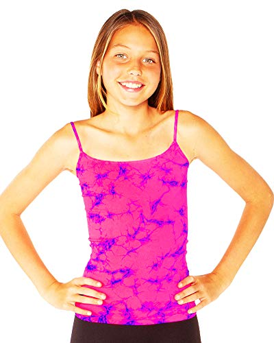 Malibu Sugar Girl's (7-10) Tie Dye Full Cami One Size Neon Fuchsia & Cobalt