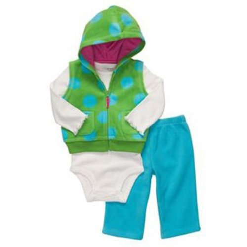 Carter's Newborn Girls Microfleece 3pc Hooded Vest Set
