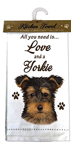 (E&S Pets 700-107 Yorkie pup Kitchen Towels, Off-)