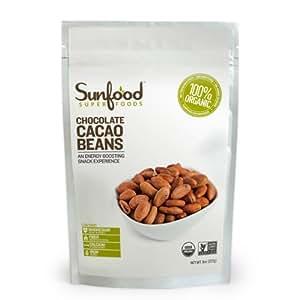 SunFood - Organic Raw Whole Cacao Beans - 8 oz