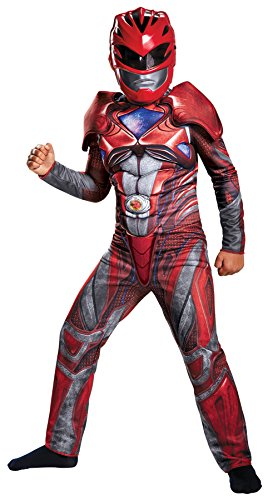 UHC Boy's Red Power Ranger Muscle Outfit Movie Theme Child Halloween Costume, Child M (7-8) (Covers Ranger Boot Red)