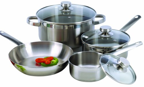 Base Encapsulated (ExcelSteel 503 Stainless Steel Cookware with Encapsulated Base, 7 Piece, Silver)