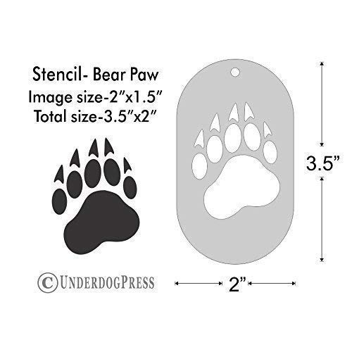 Stencil- Bear Paw, 2x1 5 Inch Image on 3 5x2 Border, Size 1