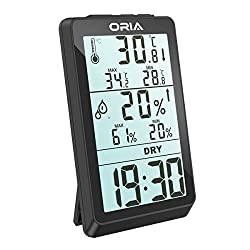 ORIA Digital Hygrometer Thermometer, Indoor Humidity Monitor, Temperature Humidity Meter, Large LCD Screen Gauge Indicator, Min and Max Records, Clock Display for Home, Office, Bedroom, Kitchen