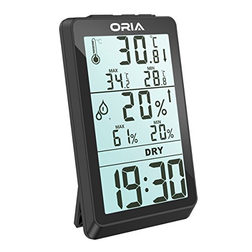 Price comparison product image ORIA Digital Hygrometer Thermometer, Indoor Humidity Monitor, Temperature Humidity Meter, Large LCD Screen Gauge Indicator, Min and Max Records, Clock Display for Home, Office, Bedroom, Kitchen