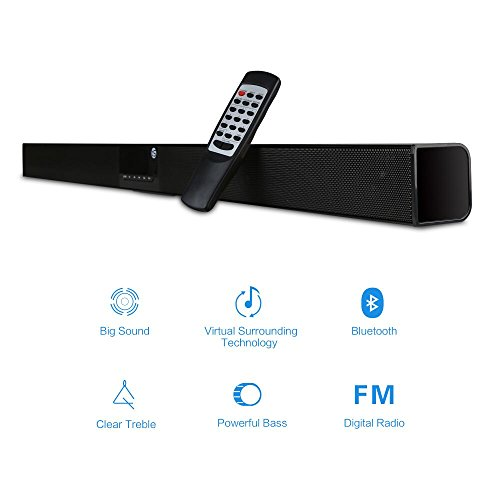 Sound Bar, TRANPSEED Surround Soundbar for TV, 30W 2.0 Channel Wireless Bluetooth Home Theater Speaker Al Metal Enclosed, with Remote Control and FM Radio (Wall Mountable)