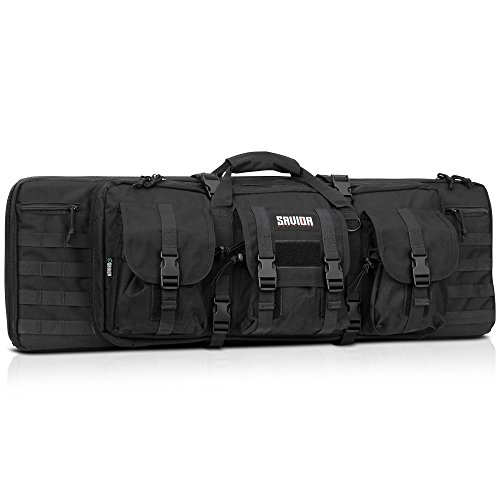 Savior Equipment American Classic Tactical Double Long Rifle Pistol Gun Bag Firearm Transportation Case w/Backpack - 36 inch Obsidian Black -