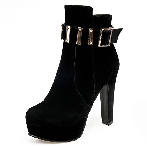 AmoonyFashion Womens Mixed Material Frosted Closed-Toe Low-Top High-Heels Boots Black