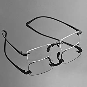Compact Men's Frame Rimless Reading Glasses Women's Temple Flexible Clear Vision Eyeglasses Unisex Crystal Lenses Optical Frame Eyewear Spectacles Frameless Magnifying Glasses Eye Glasses +1.00