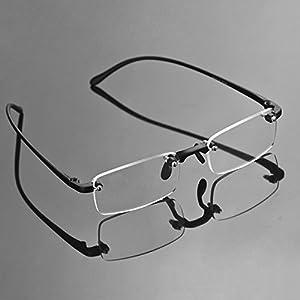 Compact Men's Frame Rimless Reading Glasses Women's Temple Flexible Clear Vision Eyeglasses Unisex Crystal Lenses Optical Frame Eyewear Spectacles Frameless Magnifying Glasses Eye Glasses +2.50