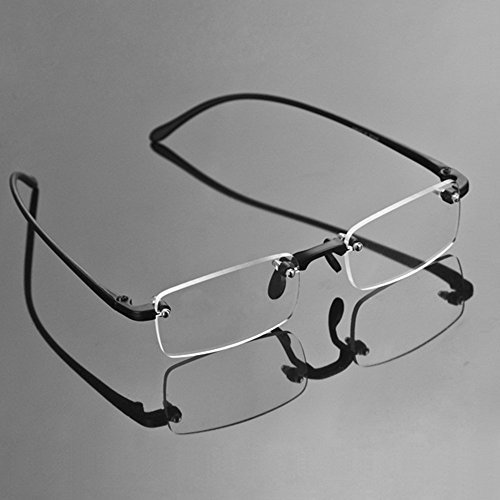 Compact Men's Frame Rimless Reading Glasses Women's Temple Flexible Clear Vision Eyeglasses Unisex Crystal Lenses Optical Frame Eyewear Spectacles Frameless Magnifying Glasses Eye Glasses +3.50 (Rimless Eyeglasses Temples)