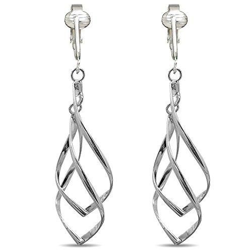 Clip Silver Ring - Womens Clip Earrings Silver, Silver Earrings Clip On for Women, Girls, Lightweight Silver Clip Earrings (Silver Double Drops)