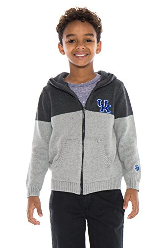 Alma Mater NCAA Kentucky Wildcats Boys Color Block Cardigan, Large, Dark Grey/Light Grey