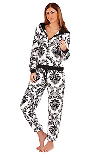 Loungeable Boutique - Pijama de una pieza - para mujer White - Black