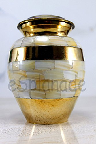 eSplanade Mother Of Pearl Brass Cremation urn Memorial Container Jar Pot Ceramic Urns Brass Urns Metal Urns Burial Urns Memorial Urns.