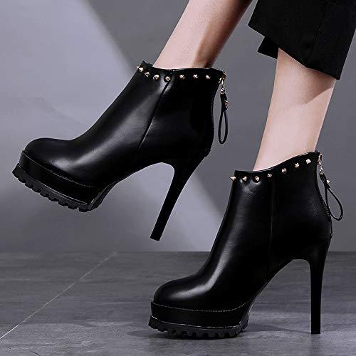 LBTSQ-Mode Damenschuhe Gut Bei Fuß Kurze Stiefel High High High 11Cm Mode Nieten Runden Kopf Wasserdichte Plattform Ma Dingxue. f3d5a9