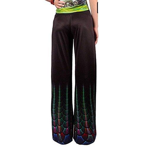 Pantaloni Autunno Stampato Grazioso 3 Moda Tempo Vintage Taille Pantaloni Primaverile Pantalone Eleganti Nahen Colour Moda Donna Larghi Colpo Libero Pantaloni wxqaBB