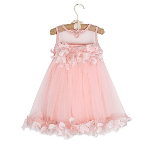 (Ant-Kinds Kids Girls Mesh Tulle Skirt Dress for Birthday Flower Girl Special Occasion, Light Pink,)