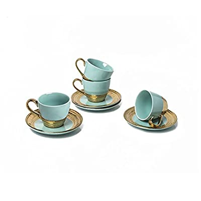 Classic Coffee &Tea Solid Espresso Cups & Saucers (Set of 4) by Yedi Houseware| 5oz Porcelain In Stylish, Pastel Aqua/Gold Colors with Gold Plated Rims & Handles for an Authentic, Italian Café Feel