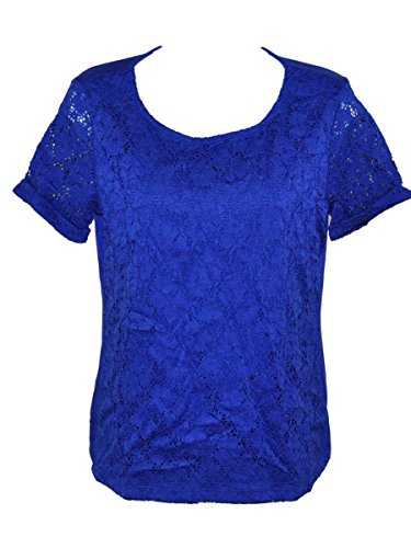 Ellen Tracy Lace Top L Large Blue Lined Womens (Small)