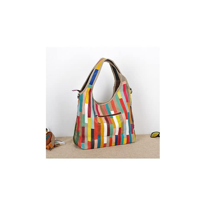 Yjiux Donne Borsa A Tracolla Vacchetta All Seasons Evento festa Informale All'aperto Formale Office amp; Carriera Rettangolo Giunto Split Zipper arcobaleno Arcobaleno