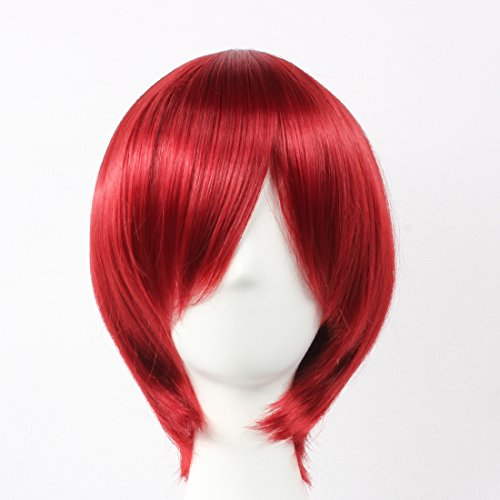 HOOLAZA Red Short Straight Wig Starry Sky Yoh Tomoe Henri Samuel Jean Aimee Battler for the Halloween Party Cosplay Wigs