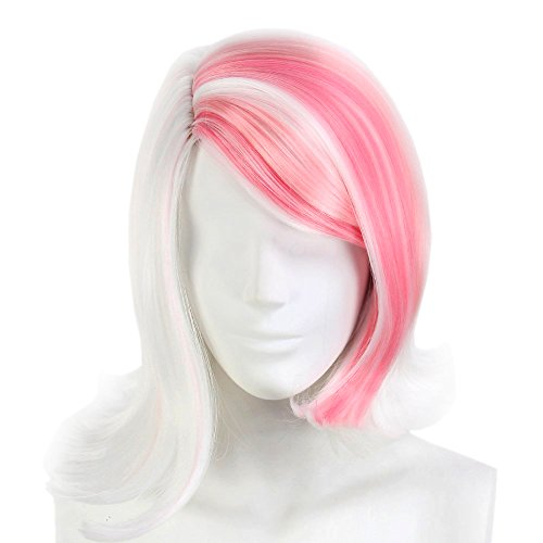 Stfantasy Wigs for Women Multi-color Short Wavy Synthetic Middle Part Peluca 14 Inch 165g w/ free Wig Cap and Clips, Pink/White