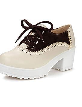 0ad9ae52 NJX/ hug Zapatos de mujer-Tacón Robusto-Plataforma red-us5.5 eu36 red-us5.5  uk3.5 Rojo eu36 Punta ...