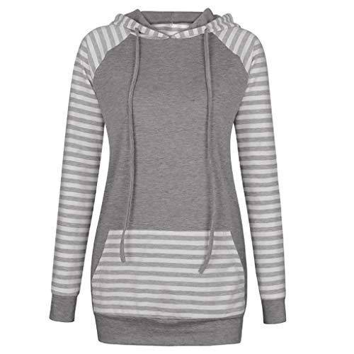 URIBAKE Womens Stripe Round Neck Hooded Long Sleeve Sweatshirt T-Shirt ()