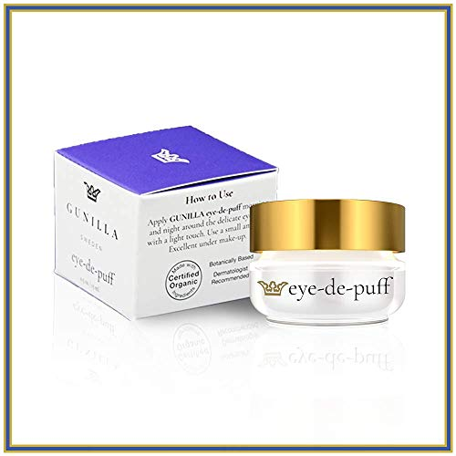GUNILLA Eye-de-puff .5oz Spa-Grade | Reduce Puffiness, Dark Circles, Hydrate | Alpha Lipoic Acid, Vit-K, A, C & E, 65% Organic Healing Aloe, 5-Herbal Extracts | All Skin Types for Men & Women