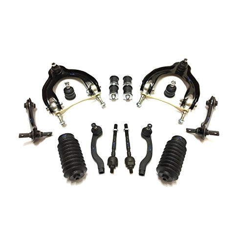 (PartsW 14 Pc Suspension Kit for Acura Integra 1994-2001 Honda Civic 1992-1995 Civic del Sol 1993-1997 Tie Rod Ends, Sway Bars, Bellow Boots, Lower Ball Joints, Front & Rear Upper Control Arms)
