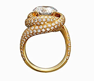 3.12 Ct Enhanced Diamond(VS) Royal Signature CVD Coated Diamond 14k Yellow Gold Promise Wedding Anniversary Ring