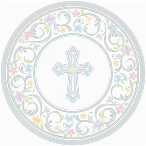 Amscan Silver Blessed Day Round Paper Plates, 18 Ct. | Party Tableware -