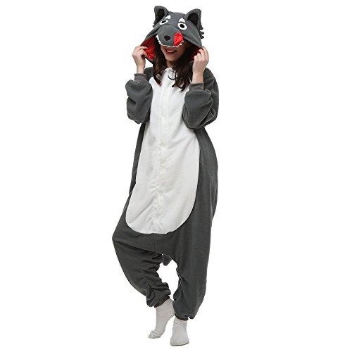 VU ROUL Halloween Costumes Adult Wolf Onesie Pajamas