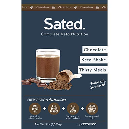 Sated Keto Meal Shake Chocolate Naturally Sweetened (Ketolent)   30 Meal Starter Kit w/Blender Bottle   1.6g Net Carbs   Low Carb Meal Replacement Shake   Optimized for Complete Nutrition