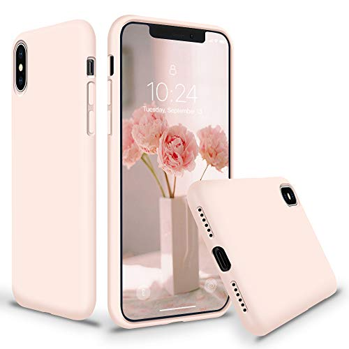 "SURPHY Silicone Case for iPhone Xs Max, Thicken Liquid Silicone Shockproof Protective Case Cover (Full Body Thick Case with Microfiber Lining) Compatible with iPhone Xs Max 6.5"", Pink Sand"