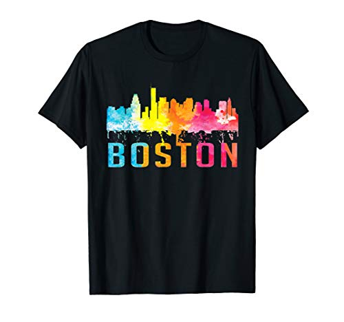 Boston Massachusetts Retro Watercolor Skyline Souvenir Shirt T-Shirt