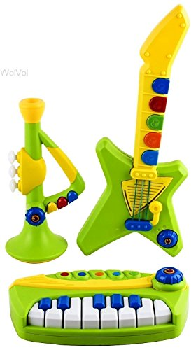 WolVol 3-Piece Band Musical Toy Instruments for Kids - Keyboard, Guitar, Trumpet (with volume controls)