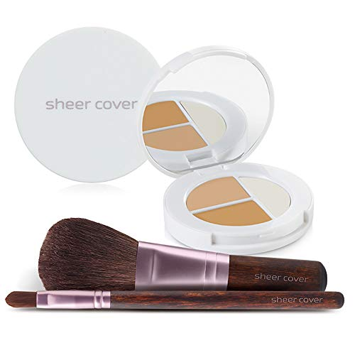(Sheer Cover Studio – Starter Face Kit – Perfect Shade Mineral Foundation – Conceal & Brighten Highlight Trio – with FREE Foundation Brush and Concealer Brush – Medium Shade –)
