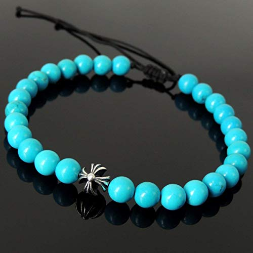 Handmade Braided Bracelet Healing Diffuser Gemstones for Men's Women's Casual Wear, Protection with 6mm Enhanced Blue Turquoise, Adjustable Drawstring, Genuine 925 Sterling Silver Cross Bead