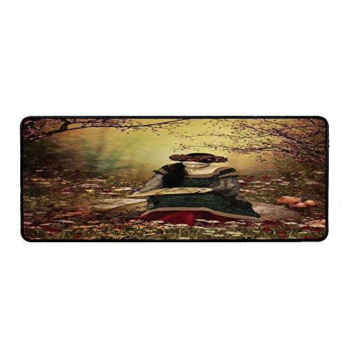 (Medieval Decor Personalized Mouse Pad,Lady Sitting on A Stone and Reading Book Forest Flowers Grass and Trees Medieval Time Art for Work Game,15.75''Wx35.43''Lx0.12''H)