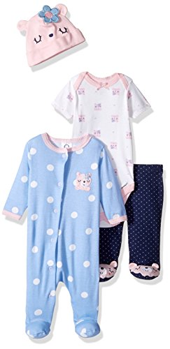 Infants Footed Pant - Gerber Baby 4 Piece Sleep 'n Play, Onesies, Footed Pant and Cap Set, Bear, 0-3 Months