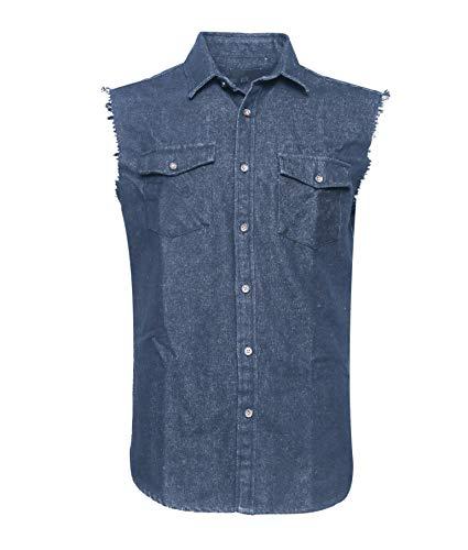Chemise Bleu En Sans Denim Gilet Homme Shirt Work Manches Coton Soopo wCqavC