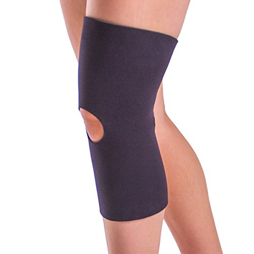 BraceAbility Open Patella/Open Back Neoprene Knee Sleeve | Water-Resistant Athletic Compression Knee Brace for Swimming, Wakeboarding, Scuba Diving, Surfing, Waterskiing and Other Sports (Large) (Water Knee Brace)