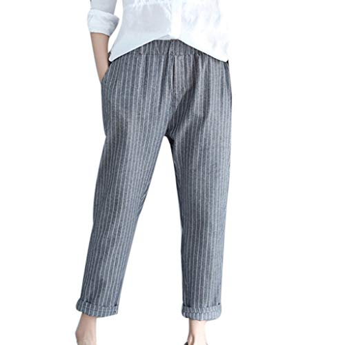 hositor High Waisted Pants, Ladies Casual Stripe Cotton Linen Pant Loose Trousers Elastic Band Harem Pant Black