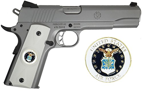 1911 Government Model Grips with Quality Attractive US Air Force Military Emblems Set In Light Ivory Color Polymer Grips by Garrison Grip (G41)