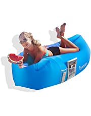 Toneeta Inflatable Lounger Air Sofa, Portable Waterproof Inflatable Air Couch Ultra Durable with Side Pocket - for Travel, Hiking, Beach and Yard
